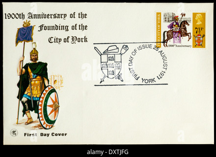 1971 First Day Cover celebrating 1900th anniversary of the founding of the city of York. - Stock Photo