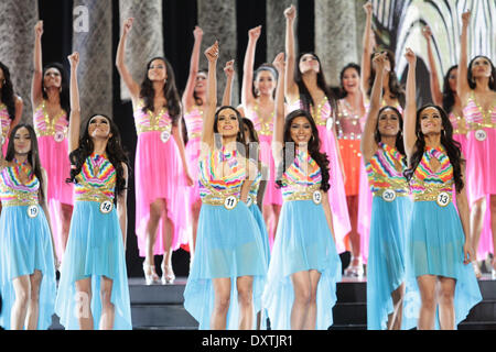 Quezon City, Philippines. 30th March, 2014. Participants of the Binibining Pilipinas perform their opening act on - Stock Photo