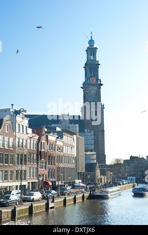 Prinsengracht street with old Western Church in Amsterdam, Netherlands - Stock Photo