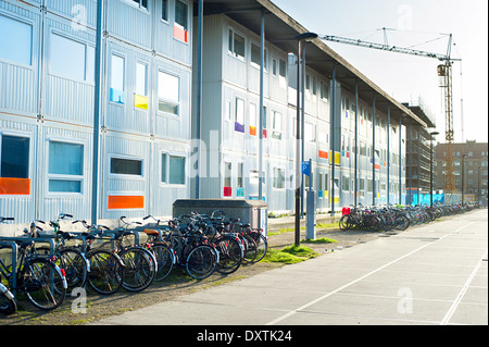 Cargo containers are used for budget housing in Amsterdam , Netherlands - Stock Photo