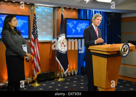 Secretary Kerry Releases the Annual Country Report on Human Rights - Stock Photo