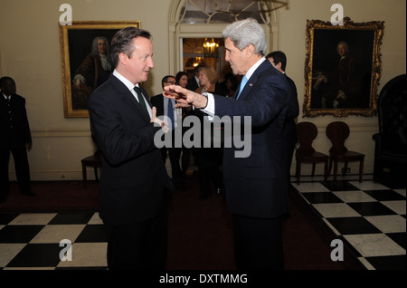 British Prime Minister David Cameron Bids Farewell to Secretary Kerry Stock Photo