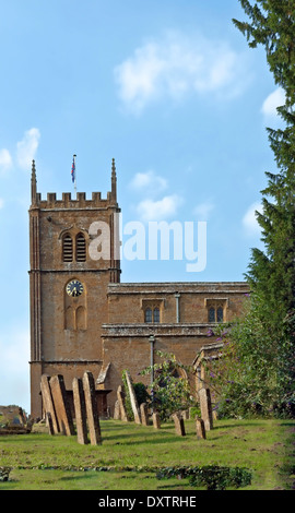 View on All Saints Church, a 14th century parish church in Wroxton, Oxfordshire, England, Great Britain. - Stock Photo
