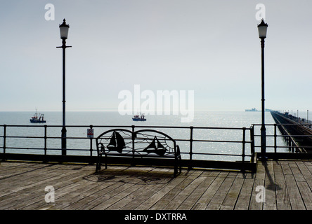 Southend-on-Sea, Essex, England. 30 March 2014 Southen Pier, the longest pleasure pier in the world. - Stock Photo