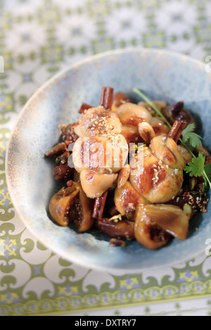 Moroccan chicken,fig and cinnamon Tajine - Stock Photo