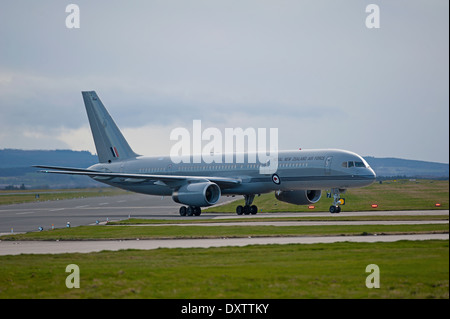 New Zealand Royal Airforce Boeing 757 arriving at RAF Lossiemouth after its long haul flight from Auckland.  SCO - Stock Photo
