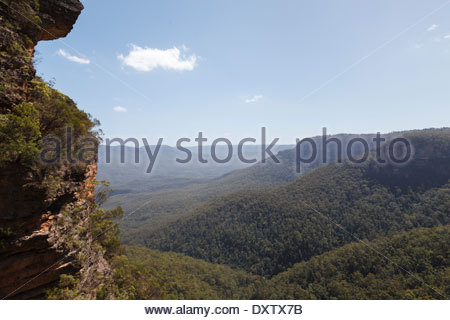 View into Jamison Valley from the top of the Grand Stairway, Blue Mountains - Stock Photo