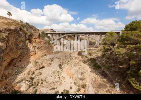 Dried up river bed in Almeria, Andalusia, South Spain, Europe - Stock Photo