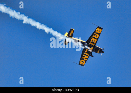 Aerobatic Airplane performance during Air Show in Athens, Greece - Stock Photo