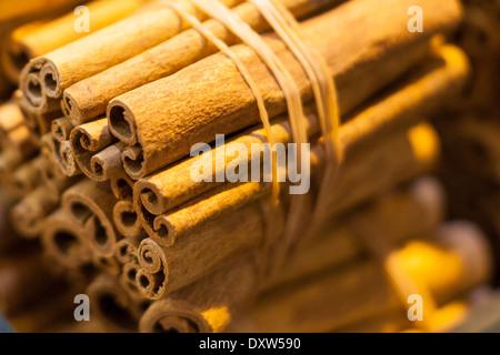 Cinnamon in turkish market stall - Stock Photo