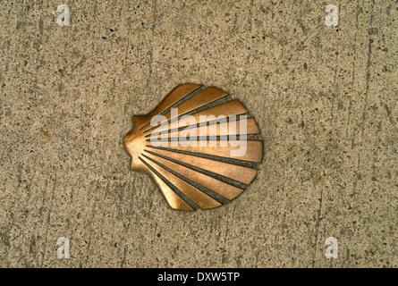 The Shell symbol of the El Camino De Santiago De Compostela - Stock Photo