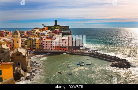 Coastline village in the Cinque Terre National park the Italian Riviera, Vernazza, Italy - Stock Photo