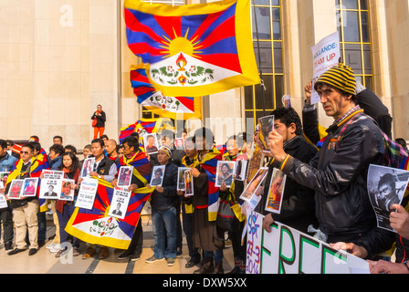 The Tibetan, Taiwanese Ethnic Communities of France, and Friends called for French citizens to mobilize during the - Stock Photo