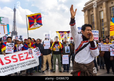 The Tibetan, Taiwanese Ethnic Communities of France, and Friends called for French citizens to mobilize during the visit of Chinese President  in Paris, Militants, International Immigrants  Europe Stock Photo