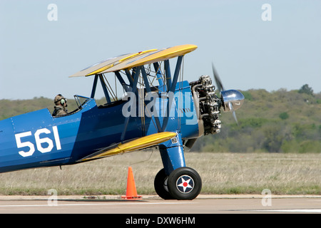 Airshow Featuring the 1943 Boeing A75N1 PT17 Biplane - Stock Photo