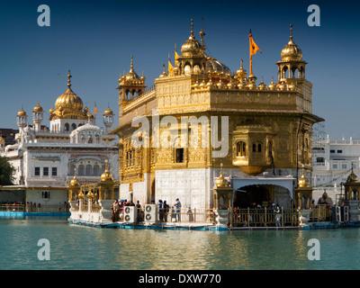 India, Punjab, Amritsar, Sri Harmandir or Darbar Sahib, Golden Temple Gurdwara - Stock Photo