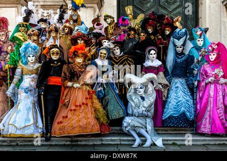 People In Costume, Venice Carnival, Venice, Italy - Stock Photo