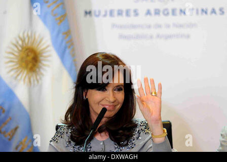 Buenos Aires, Argentina. 31st Mar, 2014. Argentina's President Cristina Fernandez participates in an activity in - Stock Photo
