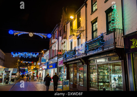 chesterfield christmas lights in the town center at night derbyshire stock photo royalty free. Black Bedroom Furniture Sets. Home Design Ideas