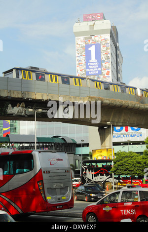Bus, taxi, and train - public transportation in Kuala Lumpur, Malaysia. - Stock Photo