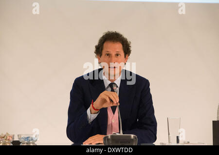 Turin, Italy. 31st Mar, 2014. John Elkan speaks at general Meeting of Fiat Shareholders, in Turin, Italy, on March - Stock Photo