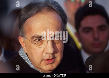 Turin, Italy. 31st Mar, 2014. Sergio Marchionne speak with the journalist after the general Meeting of Fiat Shareholders, - Stock Photo