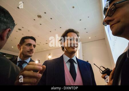 Turin, Italy. 31st Mar, 2014. John Elkan at the end of general Meeting of Fiat Shareholders, in Turin, Italy, on - Stock Photo