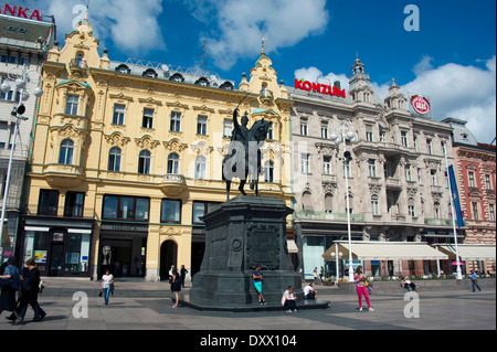 Ban Jelačić statue in Ban Jelačić Square, Lower Town, Zagreb, Croatia - Stock Photo