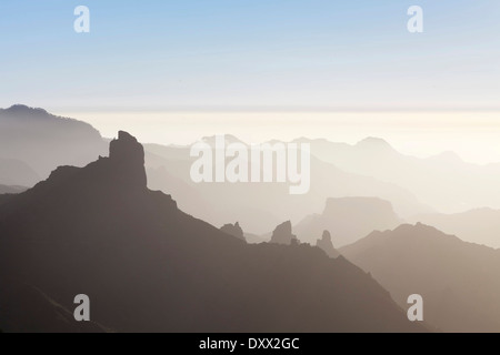 View from Cruz de Tejeda towards Roque Bentayga near Tejeda, Gran Canaria, Canary Islands, Spain - Stock Photo