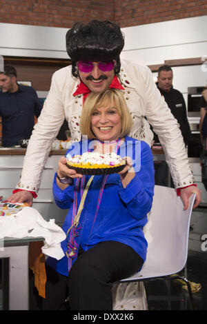 Johann Lafer Mary Roos recording a carnival episode of German cooking show 'Lafer Lichter Lecker' at Fernsehmacher - Stock Photo
