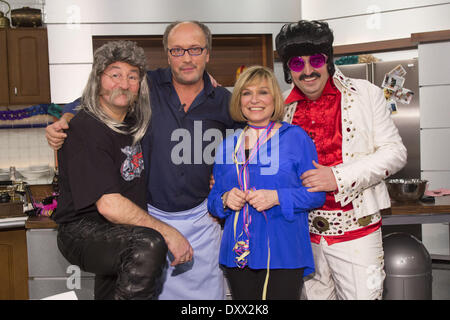 Horst Lichter Hans Werner Olm Mary Roos Johann Lafer recording a carnival episode of German cooking show 'Lafer - Stock Photo