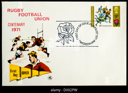 1971 First Day Cover celebrating the centenary of Rugby Football union, postmarked at Twickenham. - Stock Photo