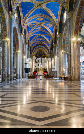 Interior of the Gothic basilica, construction began at the end of the 13th century, Santa Maria sopra Minerva, Rome, - Stock Photo