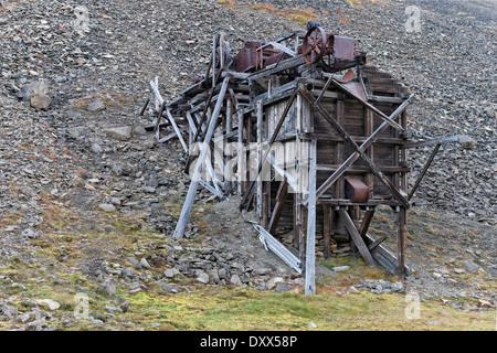 Old coal mine, Longyearbyen, Spitsbergen, Svalbard Archipelago, Svalbard and Jan Mayen, Norway - Stock Photo