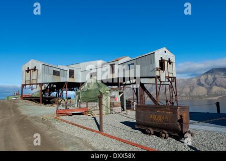 Old coal mine, Longyearbyen, Spitsbergen, Svalbard Islands, Svalbard and Jan Mayen, Norway - Stock Photo