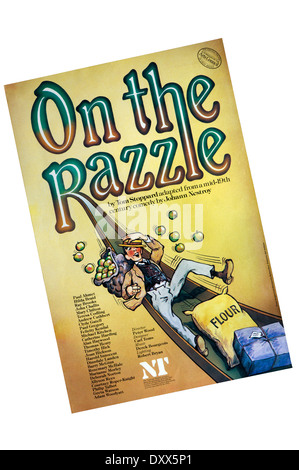 Poster for the 1981 production of On The Razzle by Tom Stoppard, adapted from Johann Nestroy, at the Lyttelton Theatre. - Stock Photo