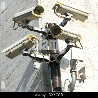 Camera for video surveillance and control of city traffic - Stock Photo
