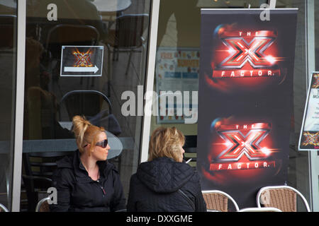 Bournemouth, Dorset, UK. 1st April 2014. Hundreds of hopefuls are expected to queue up for X-Factor mobile auditions - Stock Photo