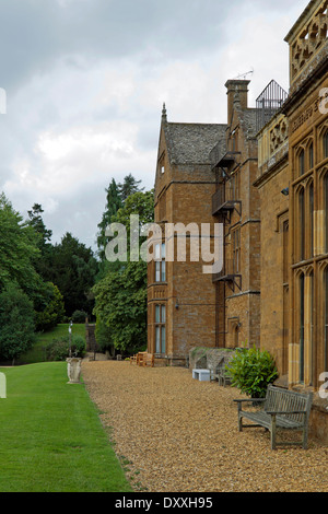 Rear view of Wroxton Abbey, a Jacobean house, Wroxton, Oxfordshire, Great Britain. - Stock Photo