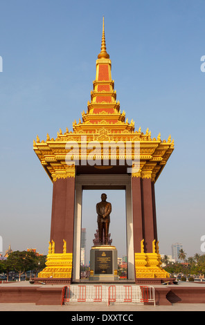 Statue of Norodom Sihanouk in Phnom Penh, Cambodia - Stock Photo
