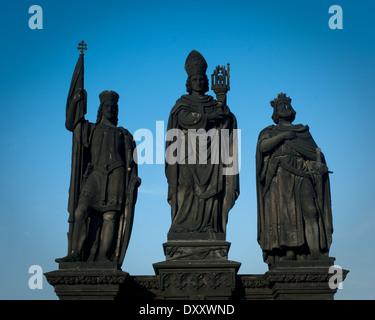 Statue on Charles Bridge, Prague, Czech Republic 2014 - Stock Photo