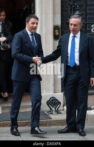 London, UK. 1st April 2014. Italian Prime Minister Matteo Renzi (L) is accompanied by Italian Ambassador to the - Stock Photo