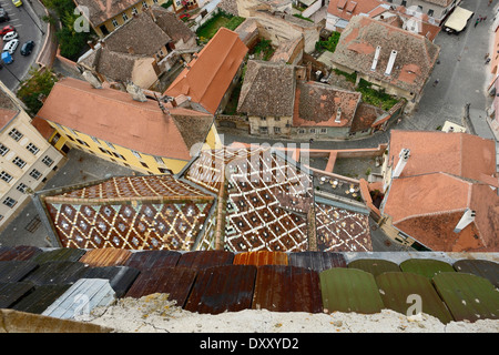 aerial view of Sibiu, a city in Romania - Stock Photo