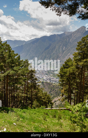 Andorra la Vella seen from a distance - Stock Photo