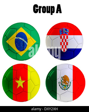 Football Championship 2014. in Brazil. Groups A, Brazil,Croatia,Mexico and Cameroon - Stock Photo