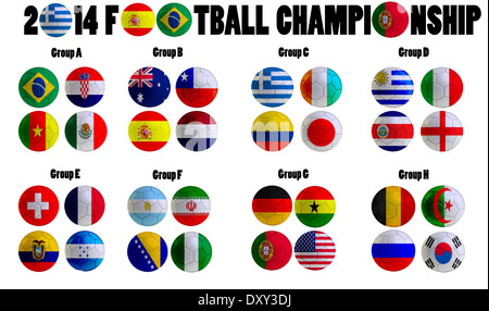 Football Championship 2014. in Brazil. Groups A to H. 32 nation flags on football balls - Stock Photo