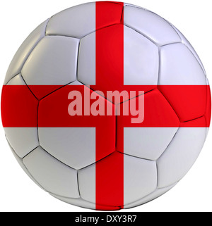 Football ball with England flag isolated on white background - Stock Photo
