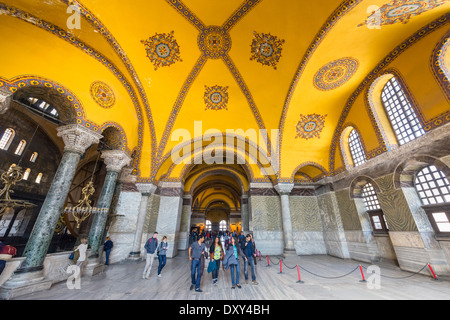 The Upper North Gallery in Hagia Sophia (Aya Sofya), Sultanahmet district, Istanbul,Turkey - Stock Photo