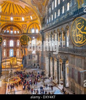 Nave from Western Gallery, with restricted view due to restoration to northern side, Hagia Sophia (Aya Sofya), Istanbul,Turkey - Stock Photo