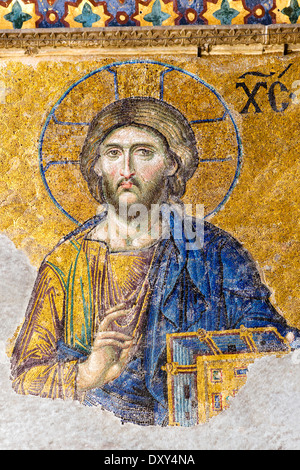 Detail of Christ on 13thC Deisis mosaic in Upper South Gallery, Hagia Sophia (Aya Sofya), Sultanahmet district, - Stock Photo